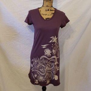 Fluxus Women's T Shirt Dress Plum with Design Med